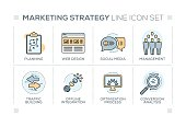 Marketing Strategy chart with keywords and line icons