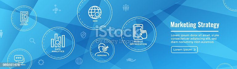 Marketing Strategy Web Header Hero Image Banner w inbound lead generation, chat, and seo ideas
