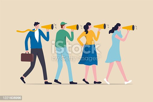 istock Marketing strategy, word of mouth people tell friend about good product and service, vebally tell story or communication concept, people using megaphone to tell story to their friends. 1221608996