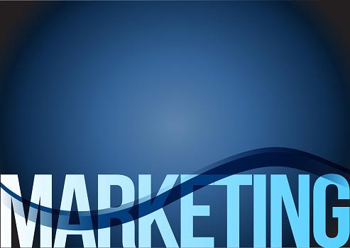 Marketing text blue background