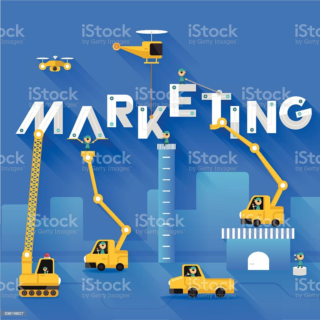 Marketing text illustration in construction vector art illustration