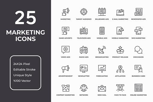 Marketing Thin Line Icon Set