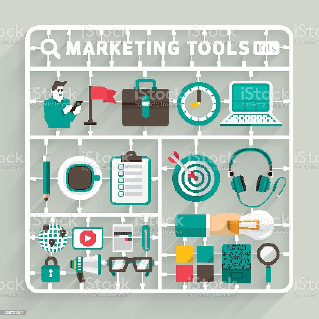 Marketing Tools Model kits vector art illustration
