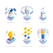 Editable set of isometric vector icons on layers.  This is an AI EPS 10 file format, with gradients and transparency effects.