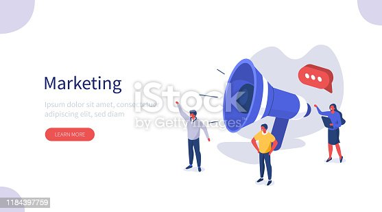 People use Big Loudspeaker to Communicate with Audience. PR Agency Team work on Social Media Promotion. Public Relation, Digital Marketing and Media Concept. Flat Isometric Vector Illustration.