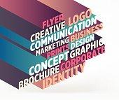 """Marketing"" typography word cloud."