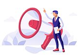 Media and Marketing Digital Relation with Public Promotion on Media. Social work, Team at Agency for PR. Audience, Communicate with Loudspeaker. Big People Concept Flat Isometric Vector Illustration.