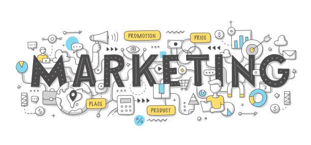 ilustrações, clipart, desenhos animados e ícones de conceito de doodle de palavra de comercialização - marketing
