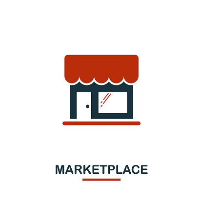 Marketplace icon in two colors. Creative black and red design from e-commerce icons collection. Pixel perfect simple marketplace icon for web design, apps, software, print usage