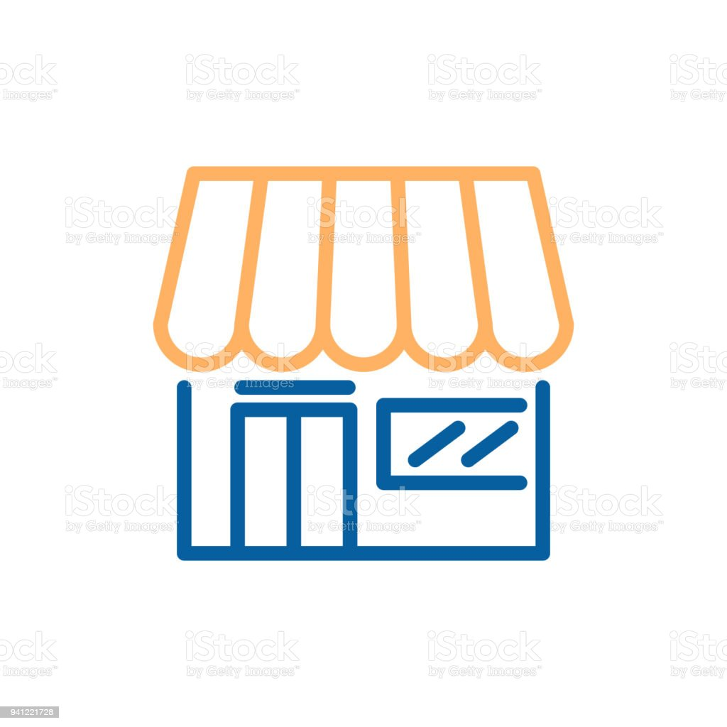 Marketplace shop, ecommerce, supermarkets. Vector trendy thin line icon illustration design vector art illustration