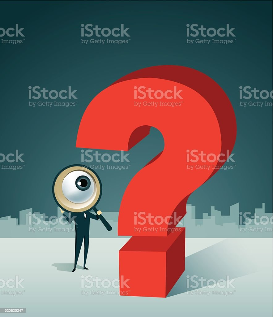 mark,Loupe, Decisions, Choice, Problems, Uncertainty vector art illustration