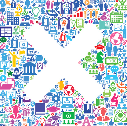 X Marks E-Learning College Education Icons Background Pattern