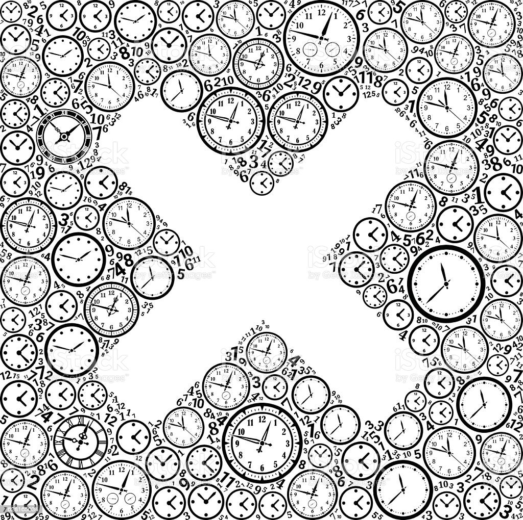 X Marks On Time And Clock Vector Icon Pattern Vektor Illustration ...