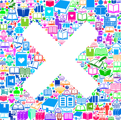 X Marks Reading Books and Education Vector Icons Background