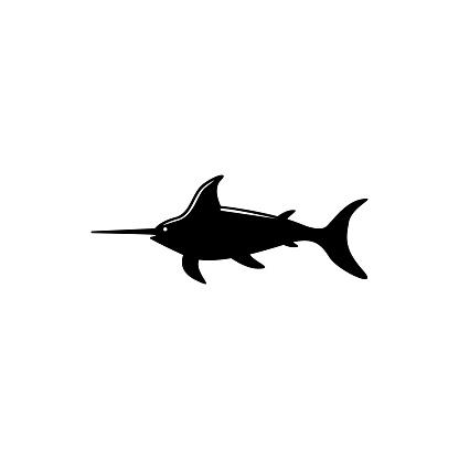 Marlin Fish, Atlantic Swordfish, Wildlife. Flat Vector Icon illustration. Simple black symbol on white background. Marlin Fish, Swordfish, Wildlife sign design template for web and mobile UI element.