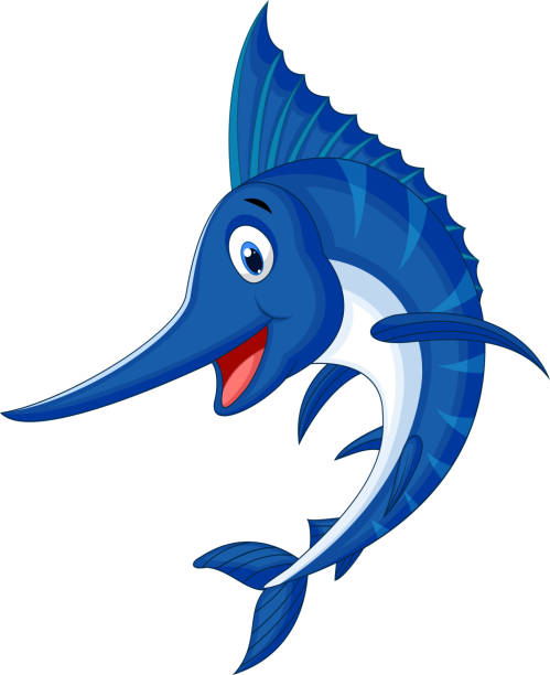 stockillustraties, clipart, cartoons en iconen met marlin fish cartoon - in de camera kijken