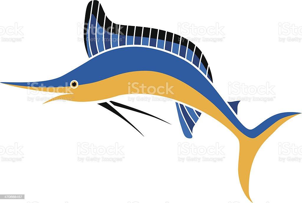 marlin in color vector art illustration