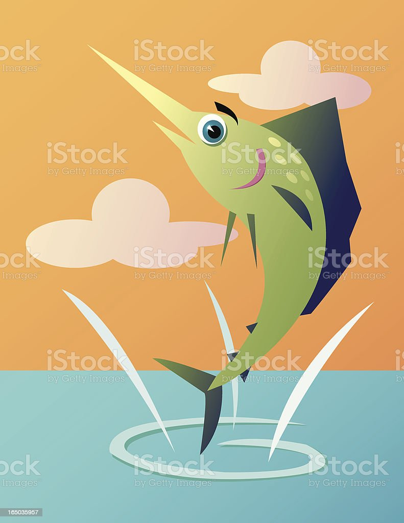 Marlin Jumping vector art illustration