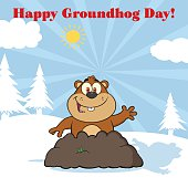 Marmot Waving In Groundhog Day With Text