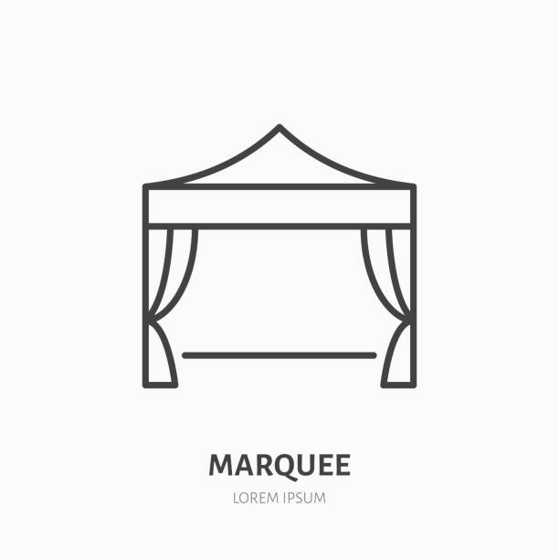 Marquee flat line icon. Folding tent, party equipment sign. Thin linear logo for trade show, event supplies Marquee flat line icon. Folding tent, party equipment sign. Thin linear logo for trade show, event supplies. pavilion stock illustrations