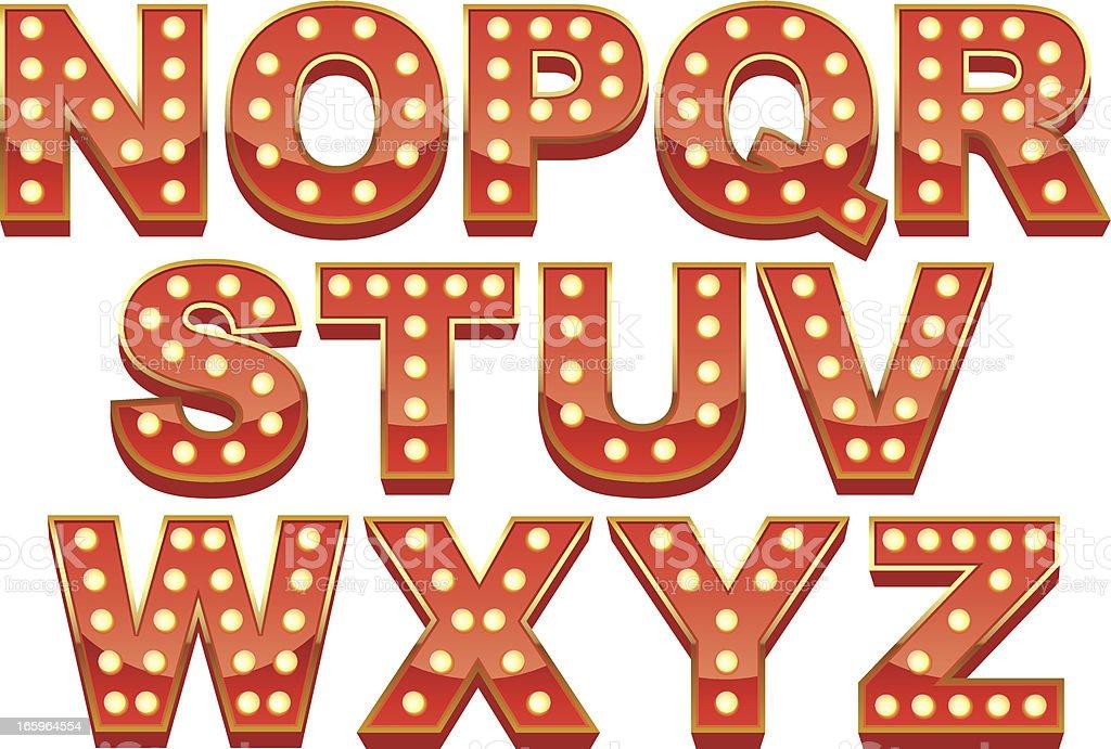 Marquee Font stock vector art