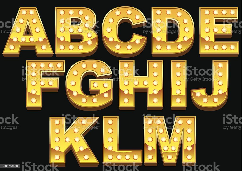 Marquee Font vector art illustration