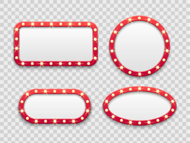 marquee light frames. vintage round and rectangular cinema and casino empty red signs with bulbs. vector isolated set - transparent stock illustrations