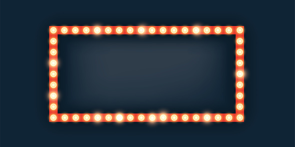 Marquee lights in rectangle frame illustration