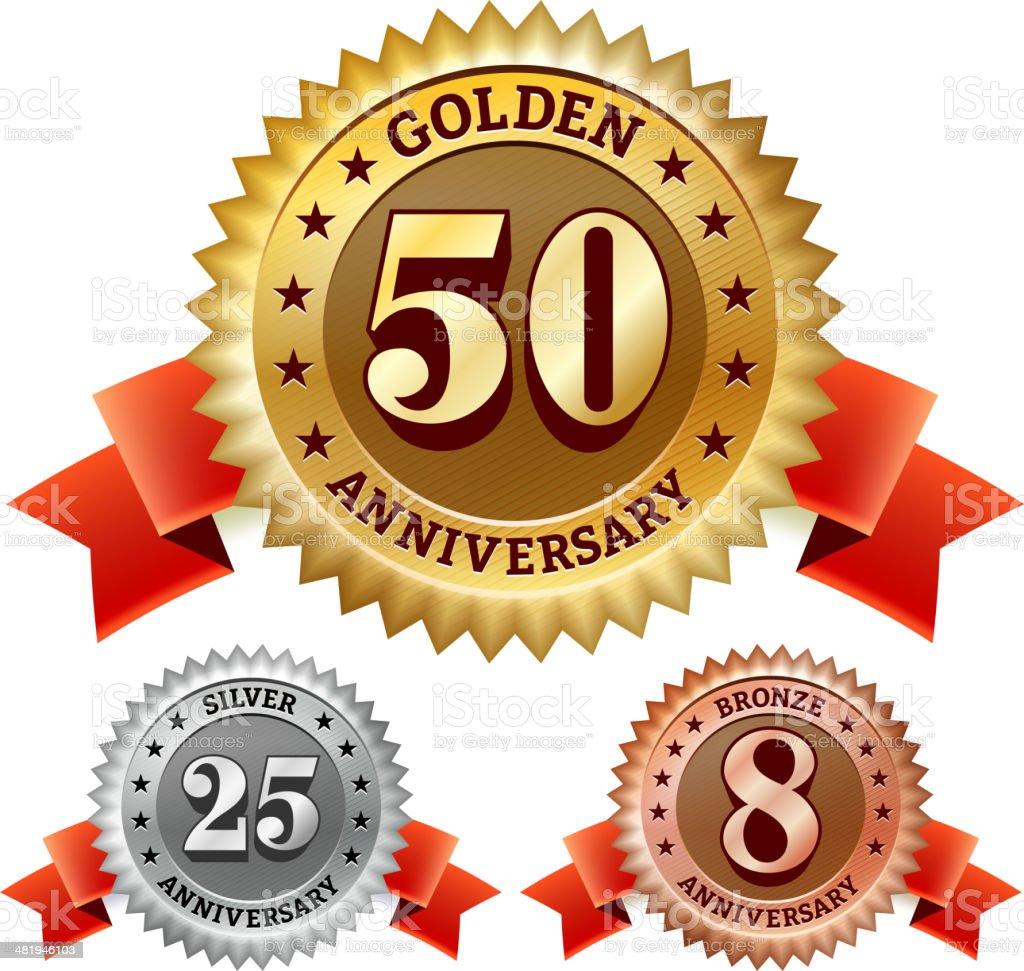 Anniversario Di Matrimonio 29 Anni.Anniversario Di Matrimonio Badge Rosso Argento E Bronzo Set