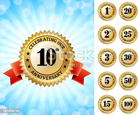 Marriage Anniversary Badges Red and Gold Set