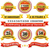 Marriage Anniversary Badges Red and Gold Set EPS10