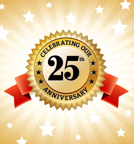 bildbanksillustrationer, clip art samt tecknat material och ikoner med marriage anniversary badges royalty free vector icon set - 25 29 år