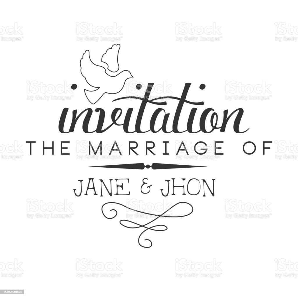 Marriage Black And White Invitation Card Design Template With Calligraphic Text With Dove Stock Illustration Download Image Now