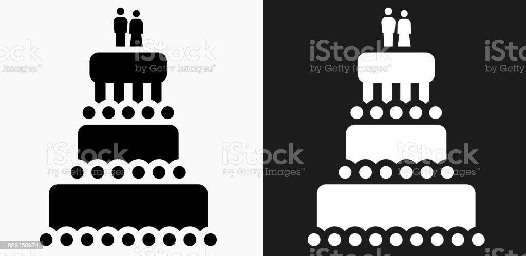 Hochzeit Kuchen Symbol Auf Schwarzweissvektorhintergrunde Stock