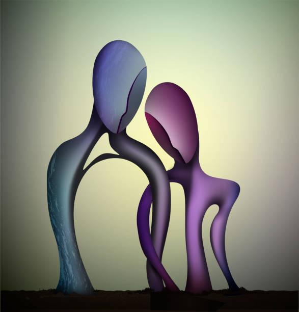heiratskonzept, zusammengehörigkeitskonzept, blauer mann und rosa frauenformen intertwined, für immer, paar in der liebe abstrakten surrealismus formen, vektor - surreal stock-grafiken, -clipart, -cartoons und -symbole