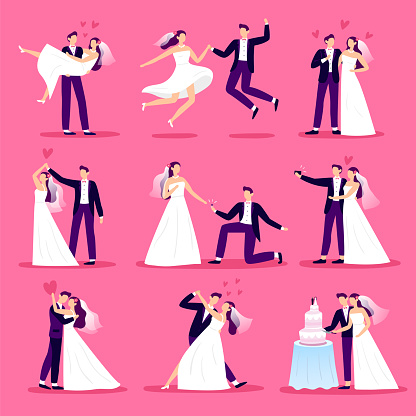 Marriage couple. Just married couples, wedding dancing and weddings celebration. Newlywed bride and groom vector illustration set