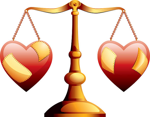 Marriage Divorce Scales balancing two damaged hearts on either side, with repair plates riveted onto the hearts. alimony stock illustrations