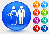 Marriage Icon on Shiny Color Circle Buttons. The icon is positioned on a large blue round button. The button is shiny and has a slight glow and shadow. There are 8 alternate color smaller buttons on the right side of the image. These buttons feature the same vector icon as the large button. The colors include orange, red, purple, maroon, green, and indigo variations.