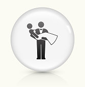 Marriage Icon on simple white round button. This 100% royalty free vector button is circular in shape and the icon is the primary subject of the composition. There is a slight reflection visible at the bottom.