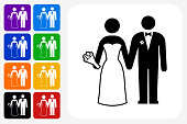Marriage Icon Square Button Set. The icon is in black on a white square with rounded corners. The are eight alternative button options on the left in purple, blue, navy, green, orange, yellow, black and red colors. The icon is in white against these vibrant backgrounds. The illustration is flat and will work well both online and in print.