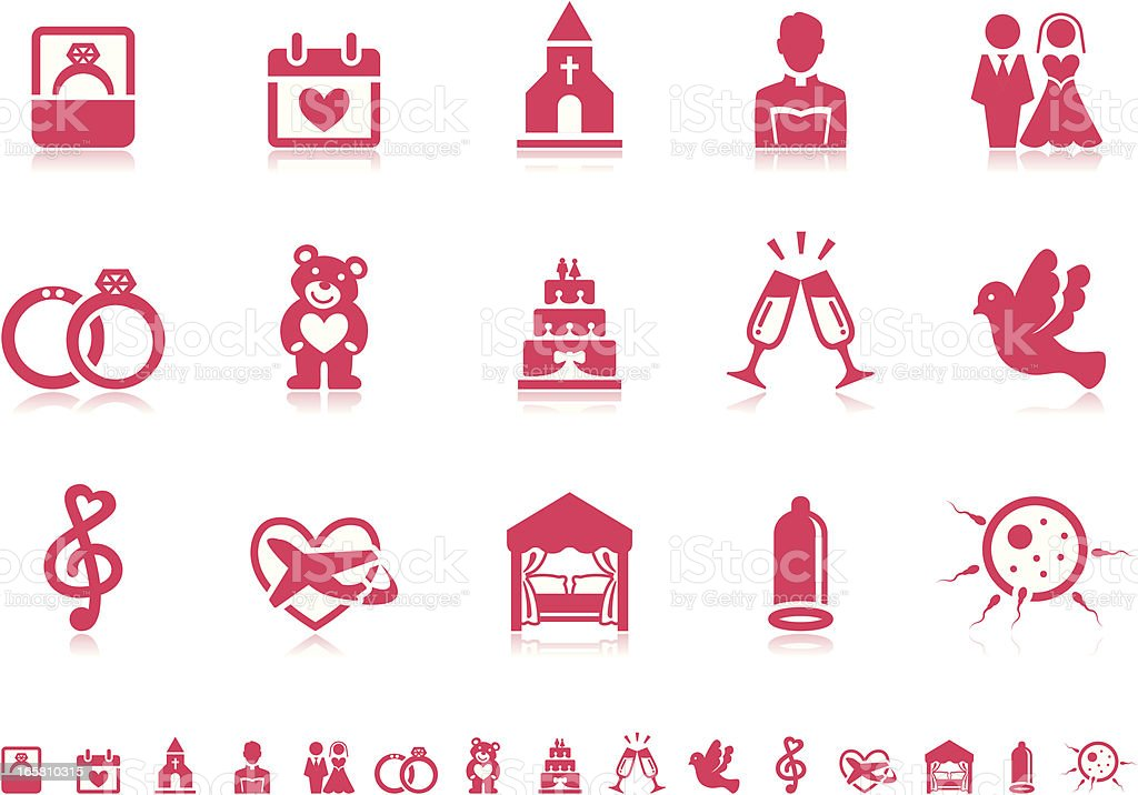 Marriage icons | Pictoria series vector art illustration