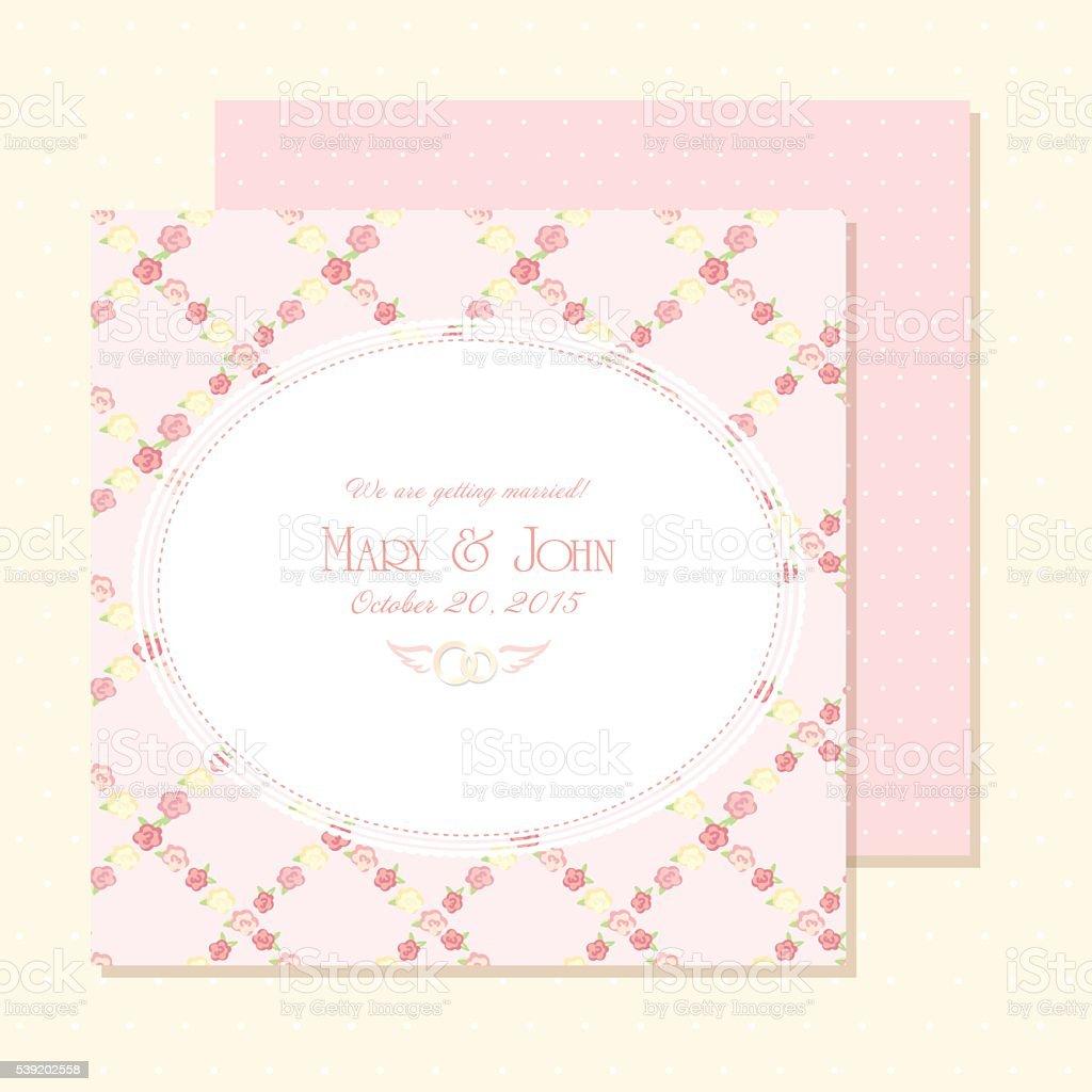 Hochzeit Einladung Karte. Vektor Illustration. Shabby Chic Rosa Farbe  Design. Lizenzfreies Vektor