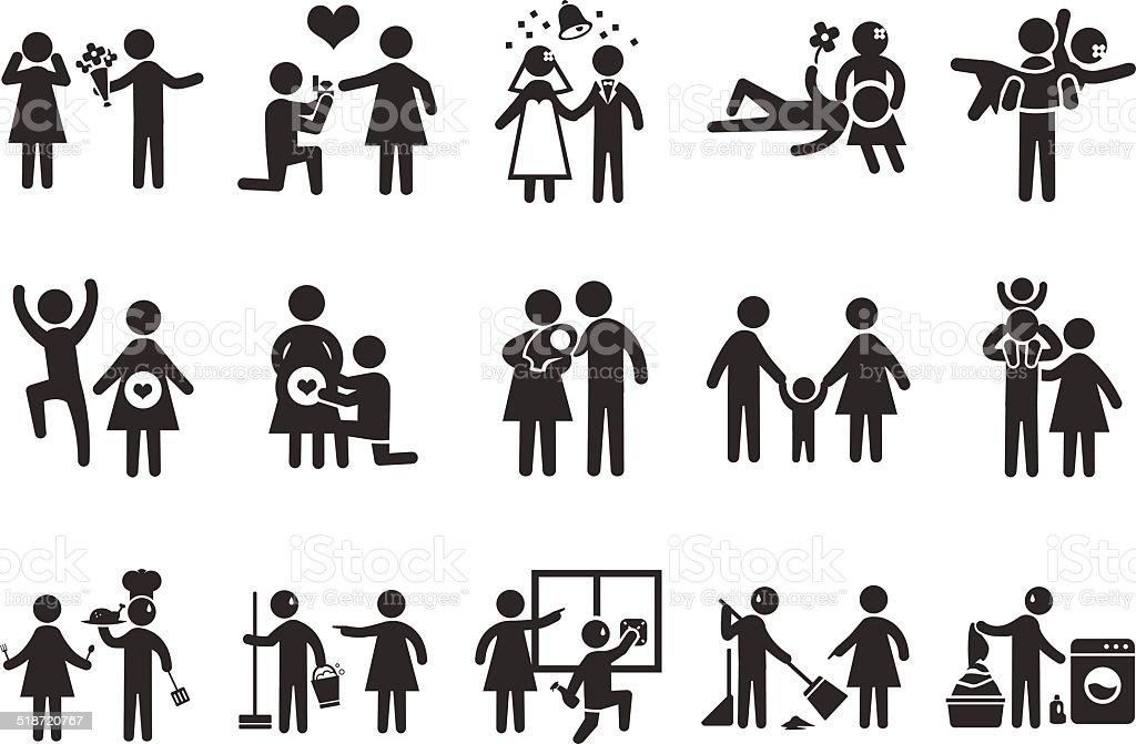 Marriage life icons -Illustration vector art illustration