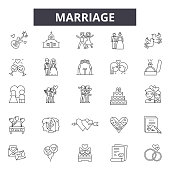 Marriage line icons, signs, vector set, outline concept linear illustration
