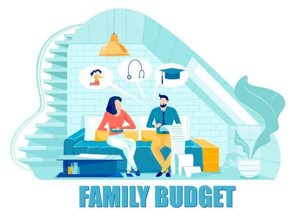 ilustrações de stock, clip art, desenhos animados e ícones de married couple discussing family budget together. - bills couple