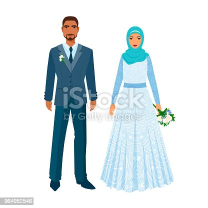 Islamic, Muslim man and and woman pair, family. Bride in ornate dress, groom in European gown. Illustration isolated on white.