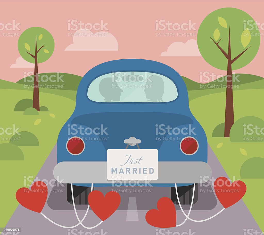 Married couple in a car vector art illustration