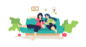 A married couple is resting on the sofa. Vector. Flat cartoon style. Music lessons. The guy with the girl surfing the Internet while sitting at home. Shopping online. Chatting with friends. Banner, poster.