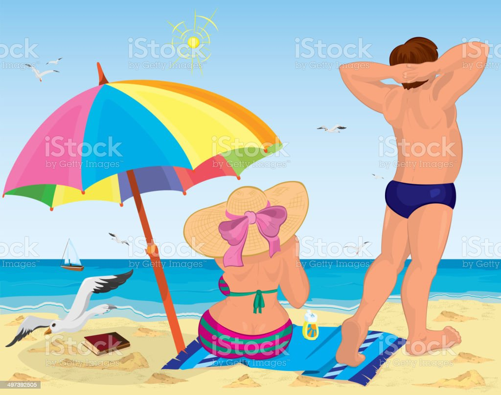 Married couple on the beach under umbrella vector art illustration