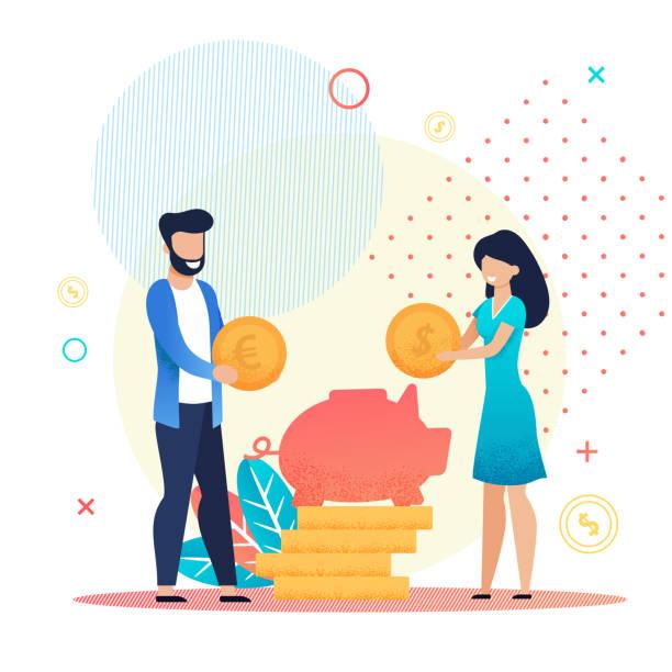 Ehepaar rettet Geld in Schweinebank-Metapher – Vektorgrafik